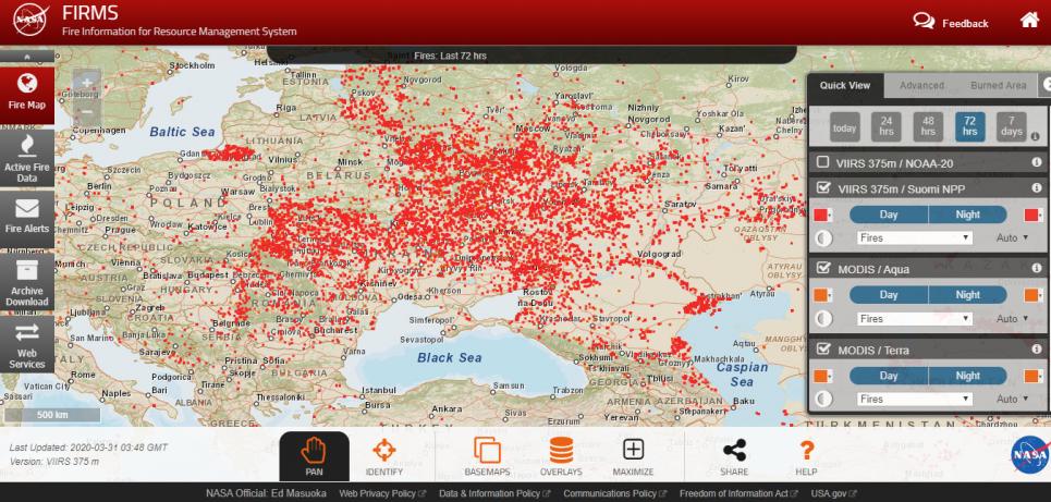 Карта пожеж за останні сб-нд-пн (28-30 березня) з сайту Fire Information for Resource Management System (FIRMS). Проаналізуйте її самостійно, а висновками поділіться у коментарях під статтею