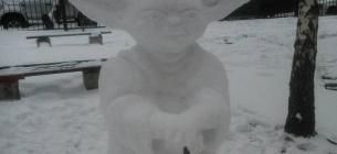 Скульптури відомих кіноперсонажів створили зі снігу в одному з київських дворів.